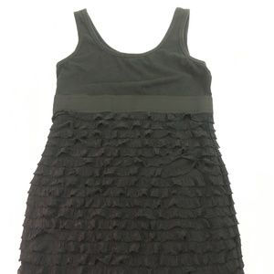 Forever 21 Women's Black Ruffle Tank Top Sz L L010